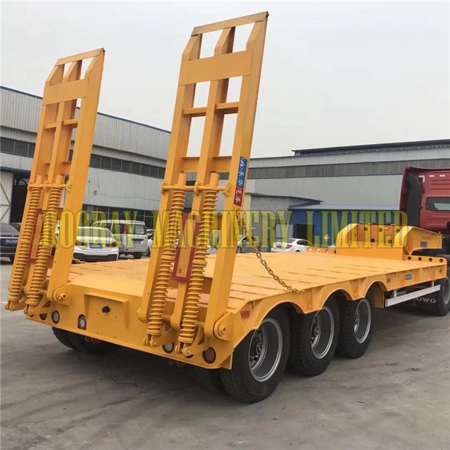 3 Axle Used Low bed Lowbed truck Semi Trailer