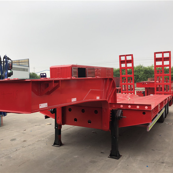 3 axles used Low flatbed Semi Trailer for sale